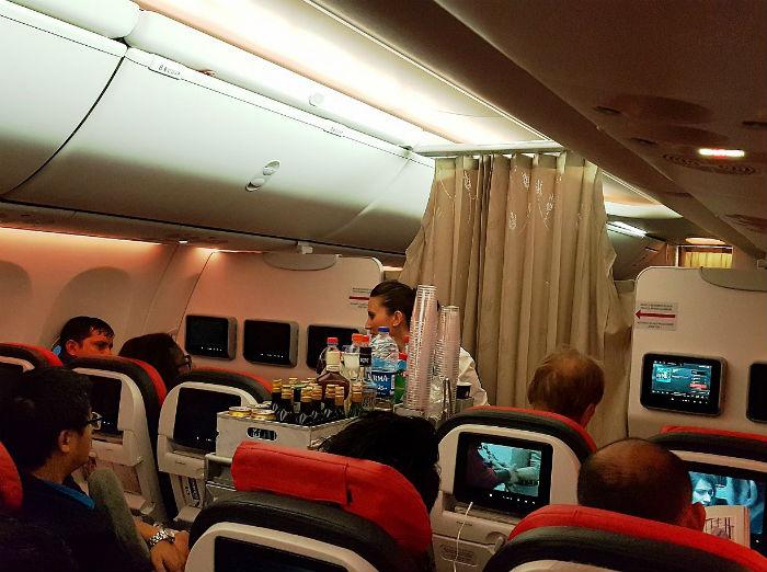 Салон самолете авиакомпании Turkish Airlines