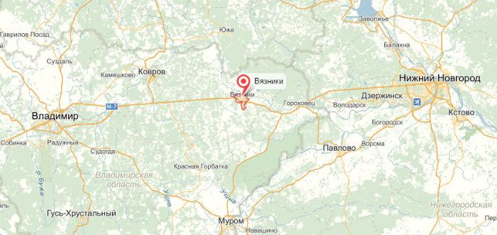 город Вязники на карте