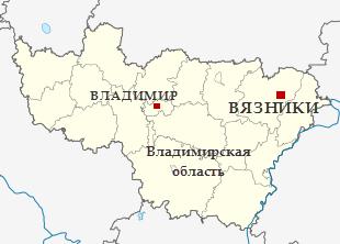 Вязники на карте Владимирской области